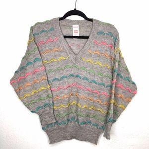 Vintage St Michael VNeck 80s Colorful Knit Sweater